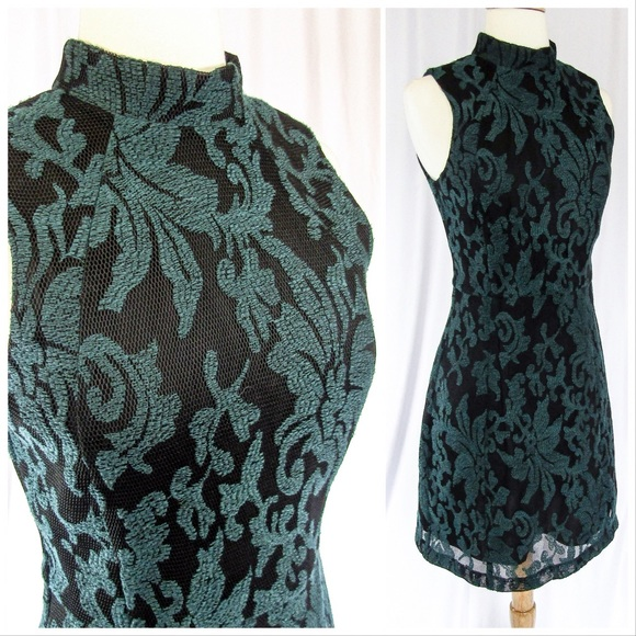 83288f646107 H&M Dresses & Skirts - Old School Black Mesh Dress w/ Pine Green Brocade